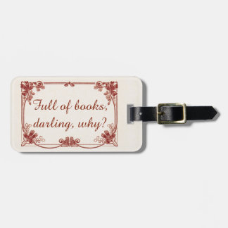 Booklover's Red Art Nouveau Luggage Tag