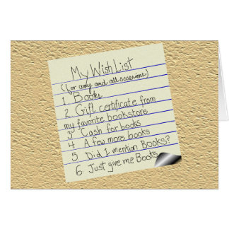 Booklover's Wish List Card