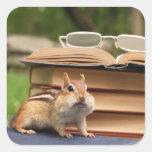 Bookloving Chipmunk Square Stickers