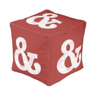 Bookman Old Style Bold White Letterpress Cube Pouf