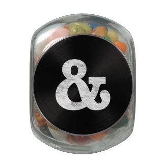 Bookman Old Style Bold White Letterpress Glass Candy Jars