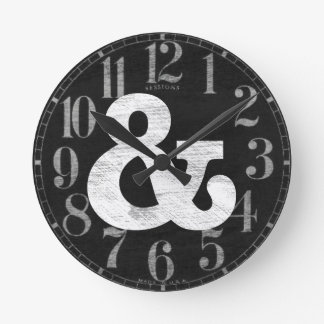 Bookman Old Style Bold White Letterpress Round Clock