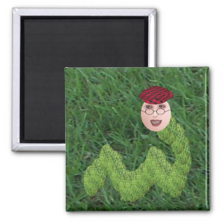 Bookman T. Worm 2 Inch Square Magnet