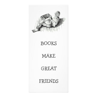 BOOKMARK: BOY READING: PENCIL ART PERSONALIZED RACK CARD