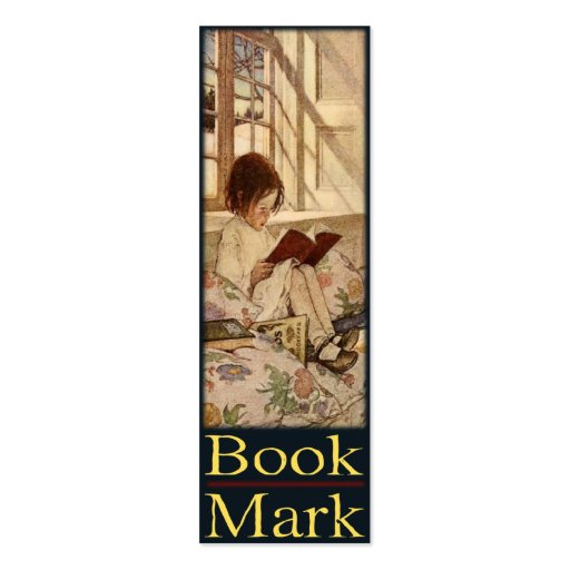 Bookmark Card with Sweet Little Girl Reading