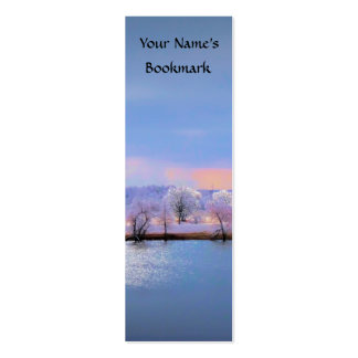 Bookmark Icy Pond and Willows in Pastel Colors Business Cards