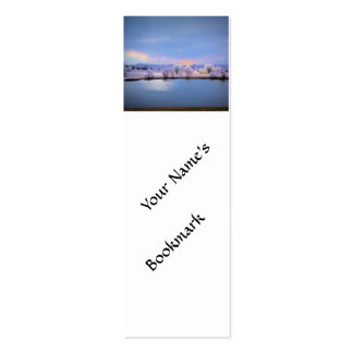 Bookmark Icy Pond and Willows in Pastel Colors Business Card Template