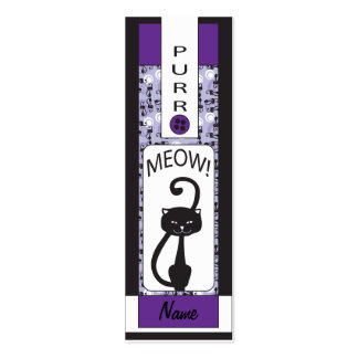 Bookmark - Purple Design with Cat Business Card Template