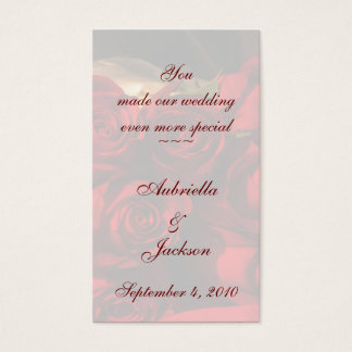 "Bookmark - ""You Made Our Wedding...."" Business Card"