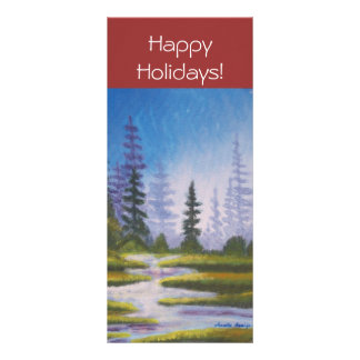 Bookmarker Happy Holidays Pine Forest Custom Rack Cards