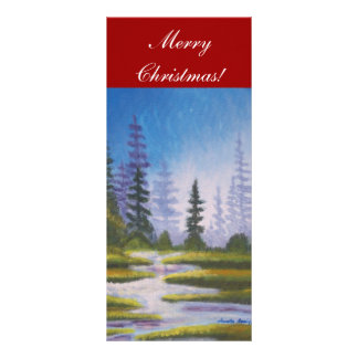 Bookmarker Merry Christmas Pine Forest Full Color Rack Card