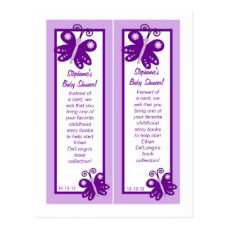 Bookmarks Wedding Dress Purple Spring Butterfly Postcard