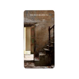 Bookplate abandonado etiquetas de dirección