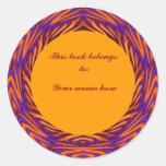 Bookplate anaranjado Curvy del círculo Pegatina Redonda