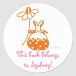 bookplate anaranjado minúsculo del conejito etiqueta redonda