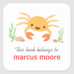 Bookplate animal del dibujo animado del cangrejo calcomania cuadradas personalizadas