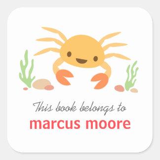 Bookplate animal del dibujo animado del cangrejo pegatina cuadrada