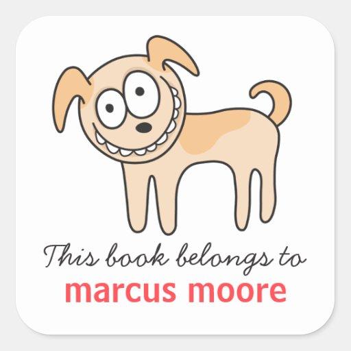 Bookplate animal del dibujo animado del perro loco pegatina cuadradas personalizada
