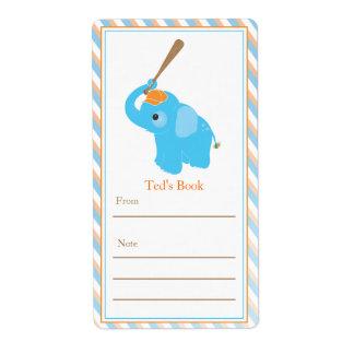 Bookplate azul del elefante etiqueta de envío