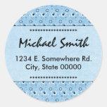 Bookplate azul retro decorativo de la dirección de pegatina redonda