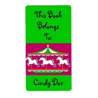 Bookplate Book Label Carousel Child Merry-Go-Round