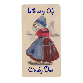 Bookplate Book Label Sweet Dutch Girl Wooden Shoes