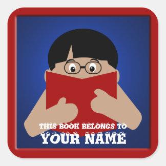 Bookplate Boy 1 Reading Book Custom Square Square Sticker
