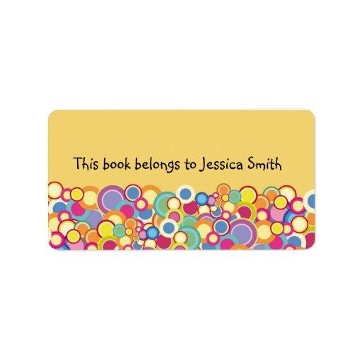 Bookplate colorido abstracto etiquetas de dirección