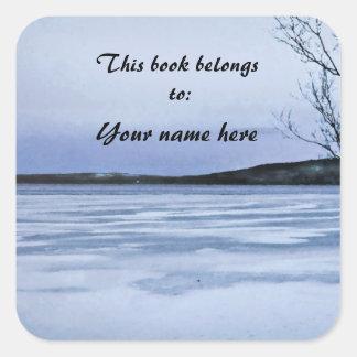 Bookplate congelado del lago pegatina cuadrada