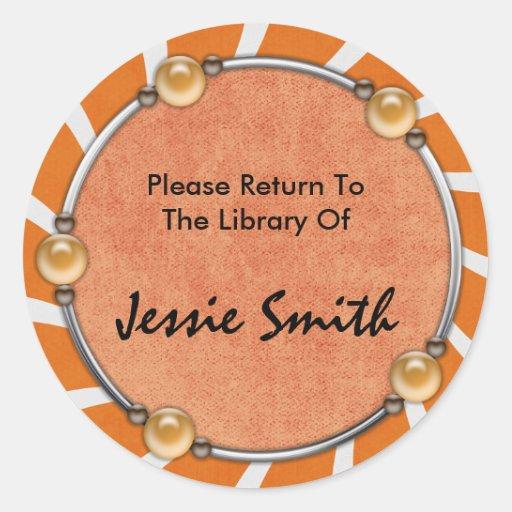 Bookplate conocido anaranjado retro decorativo de pegatina redonda
