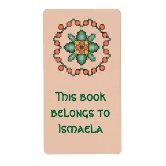 Bookplate cruzado floral anaranjado de la puntada etiquetas de envío