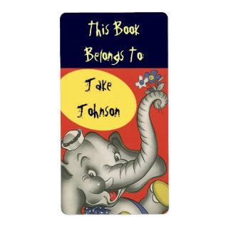 Bookplate Cute Elephant Name Book Label Belongs