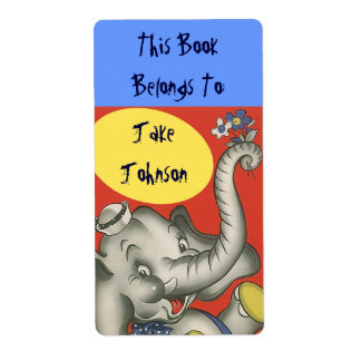 Bookplate Cute Elephant Name Book Label Belongs