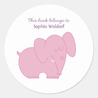 Bookplate Cute Pink Elephant Round Sticker