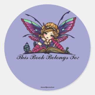 Bookplate de hadas del arte de la fantasía de la etiquetas redondas