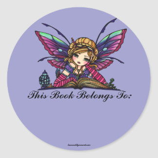 Bookplate de hadas del arte de la fantasía de la pegatina redonda