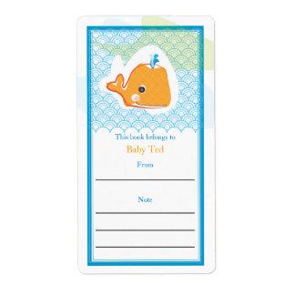 Bookplate de la ballena etiqueta de envío
