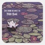 Bookplate de la biblioteca de la charca del lirio  calcomanías cuadradass