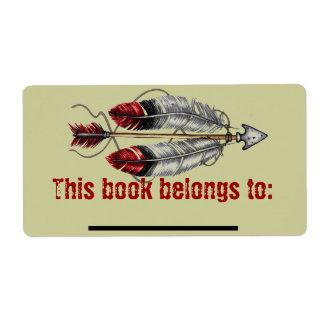 Bookplate de la flecha de los hombres etiquetas de envío