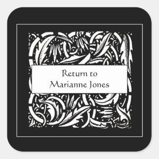 Bookplate de la hoja del Acanthus de Beardsley Pegatina Cuadrada