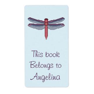 Bookplate de la libélula etiqueta de envío
