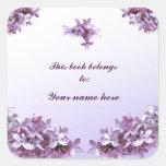Bookplate de la lila calcomanía cuadradas personalizada