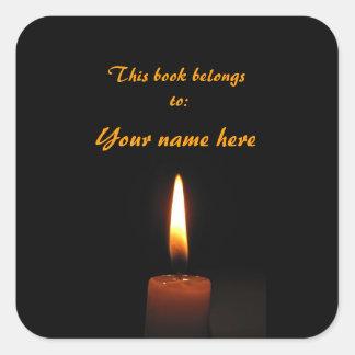 Bookplate de la llama de vela calcomania cuadrada personalizada