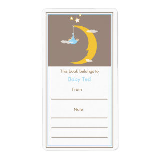Bookplate de la luna azul y de las estrellas etiquetas de envío