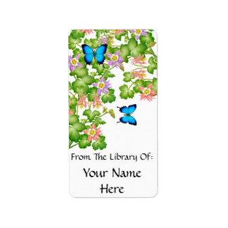 Bookplate de la mariposa de Papilio Ulises Etiquetas De Dirección