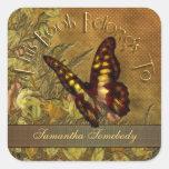 Bookplate de la mariposa del estilo del vintage calcomanía cuadradas personalizada