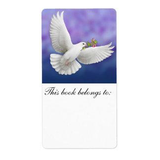 Bookplate de la paloma de la paz del vuelo etiqueta de envío