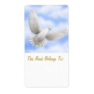 Bookplate de la paloma de la paz etiquetas de envío