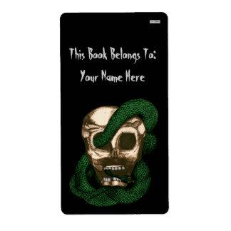 Bookplate de la serpiente y del cráneo etiqueta de envío