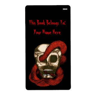 Bookplate de la serpiente y del cráneo (Fuego-Rojo Etiquetas De Envío
